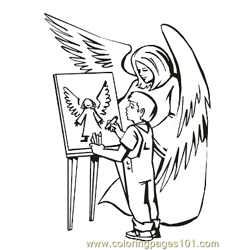 Angels 18 Free Coloring Page for Kids
