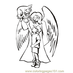 Angels 1 Free Coloring Page for Kids