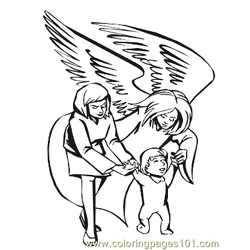 Angels 23 Free Coloring Page for Kids