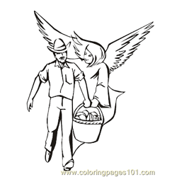 Angels 24 Free Coloring Page for Kids
