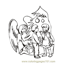 Angels 27 Free Coloring Page for Kids