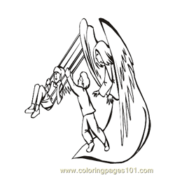 Angels 37 Free Coloring Page for Kids