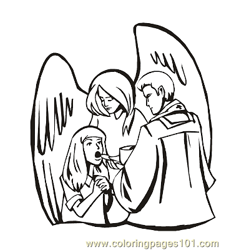 Angels 4 Free Coloring Page for Kids