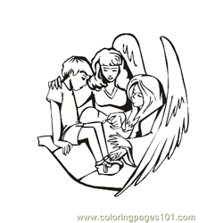 Angels 6 Free Coloring Page for Kids