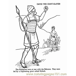 David And Goliath 1 Free Coloring Page for Kids