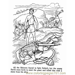 David And Goliath 2 Free Coloring Page for Kids