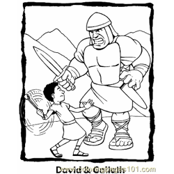 David And Goliath 3 Free Coloring Page for Kids