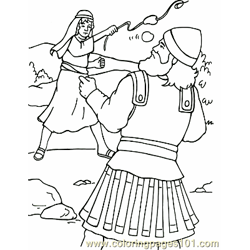 David And Goliath 5 Free Coloring Page for Kids