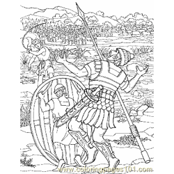David And Goliath 8 Free Coloring Page for Kids