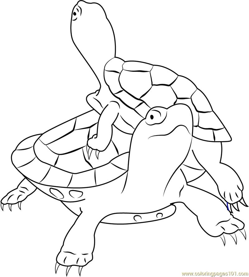 Painted Turtles Climbing Coloring Page