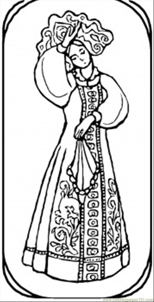 Goirl From Russian Fairy Tale Coloring Page - Free Russia Coloring ...