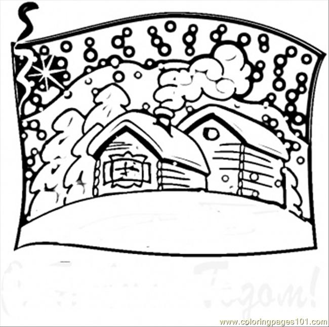 Russian Village Coloring Page