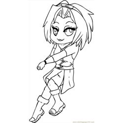 Sakura From Naruto Step 7 Free Coloring Page for Kids