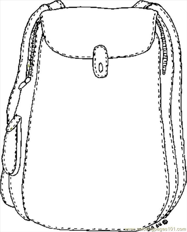 Backpack Coloring Page Free School