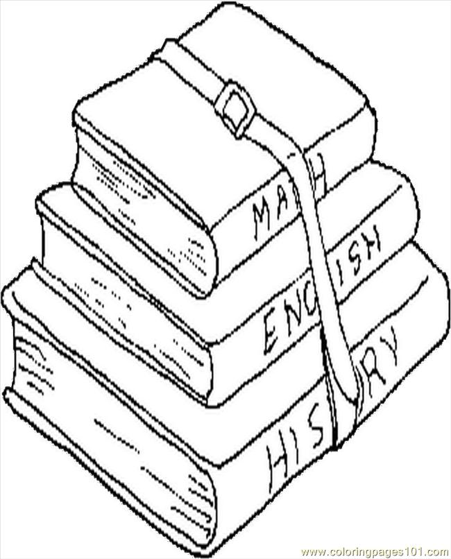School Books Coloring Page Free