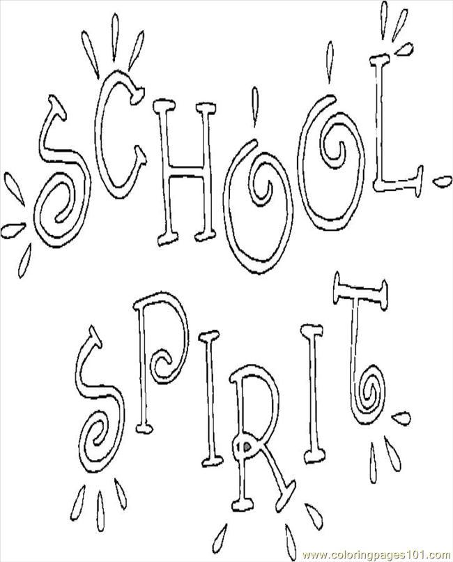 School Spirit Coloring Page Free