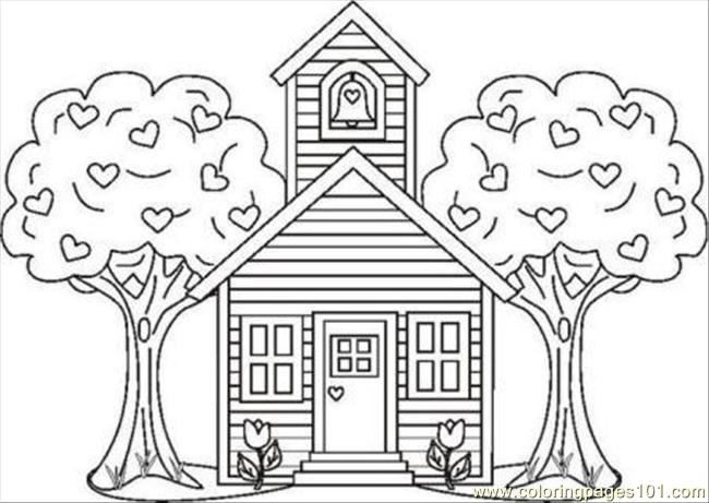 Color Page School House2 Coloring Page - Free School Coloring Pages ...