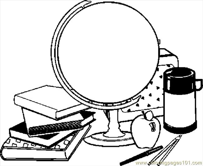 Globe & School Supplies Coloring Page