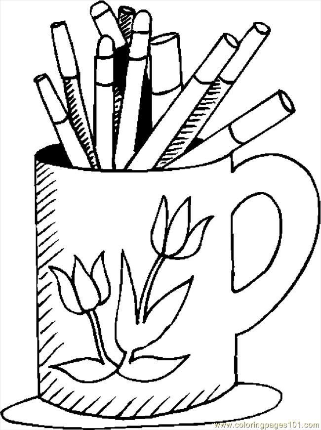 Mug & Markers Coloring Page - Free School Coloring Pages ...