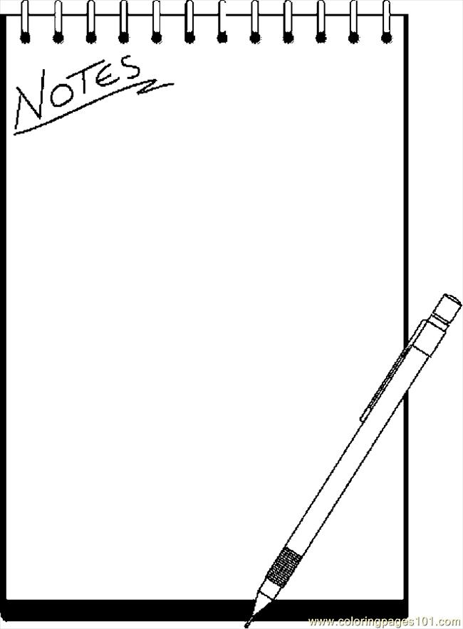 Note Pad 1 Coloring Page - Free School Coloring Pages ...