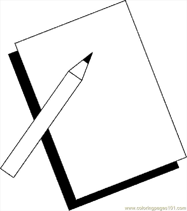 pencil paper 1 coloring page free school coloring pages