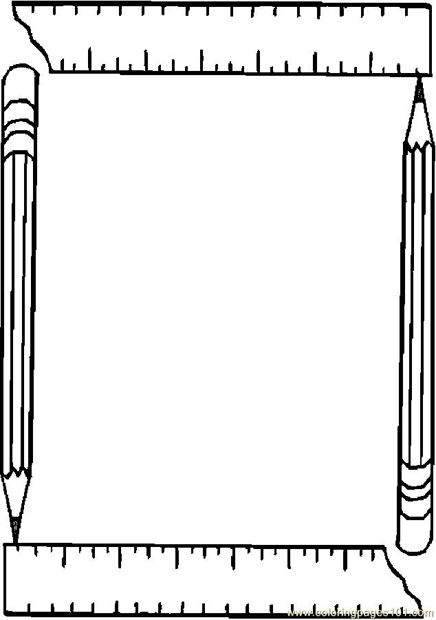Pencil & Ruler Frame Coloring Page