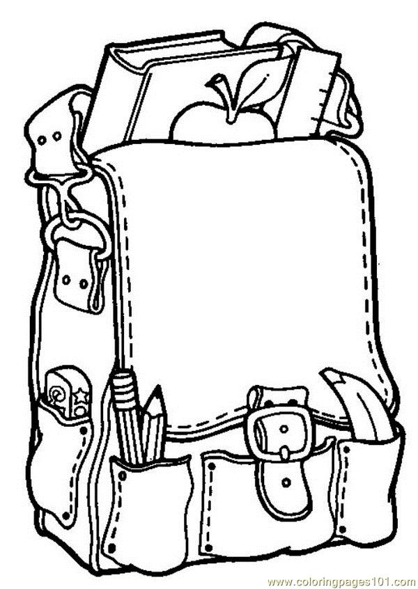 School bag Coloring Page - Free School Coloring Pages ...