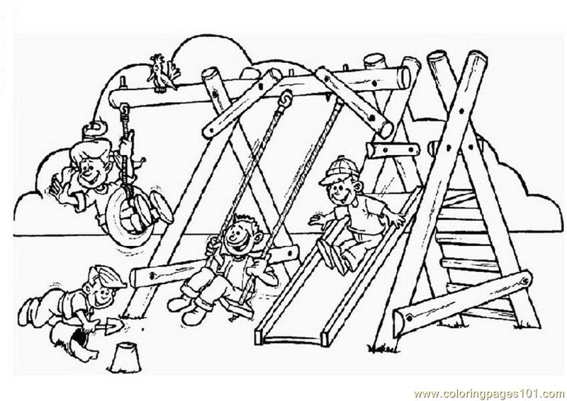 Children Enjoying Games Coloring Page