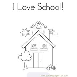 I love school Free Coloring Page for Kids