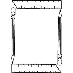 Pencil & Ruler Frame Free Coloring Page for Kids