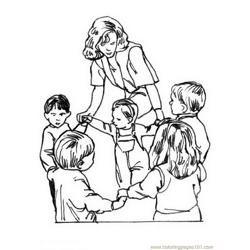 Teacher playing childrens Free Coloring Page for Kids