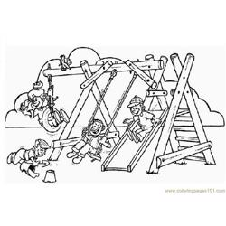 Children enjoying games Free Coloring Page for Kids