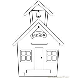 School building Free Coloring Page for Kids