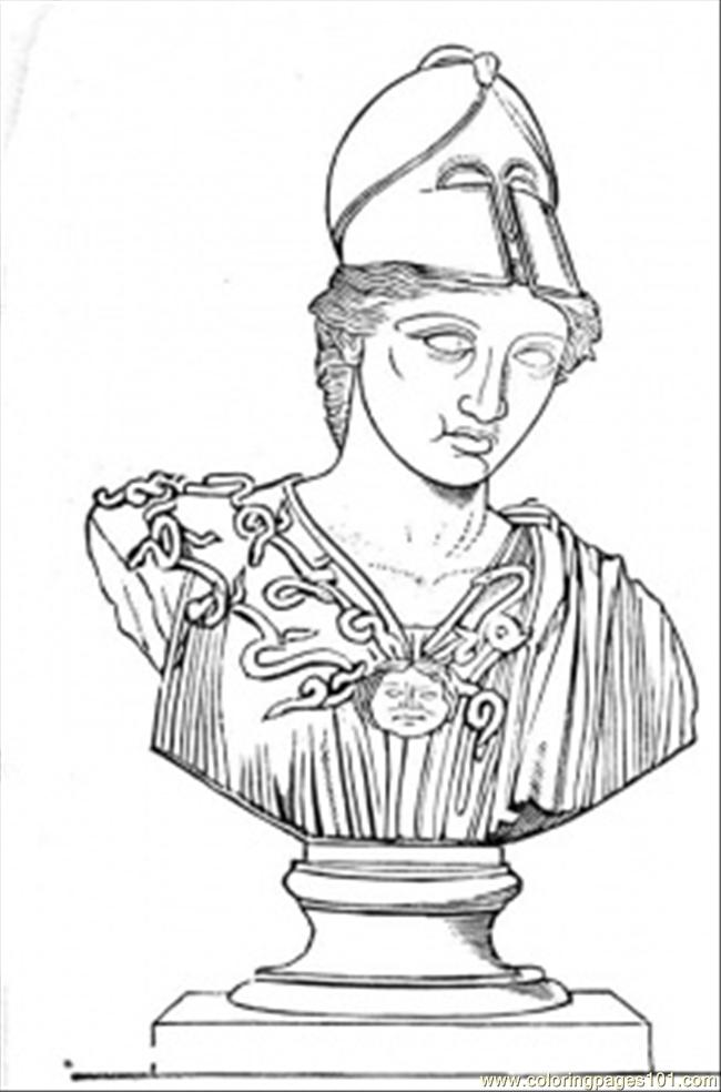Sculpture Of Greek Warrior Coloring Page