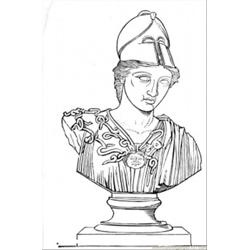 Sculpture Of Greek Warrior Free Coloring Page for Kids