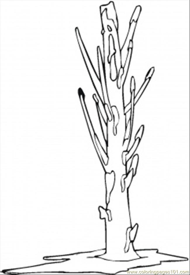 Naked Tree In February Coloring Page