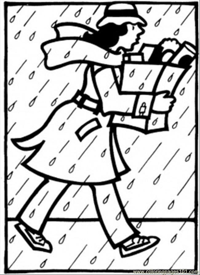 Rainy October Coloring Page