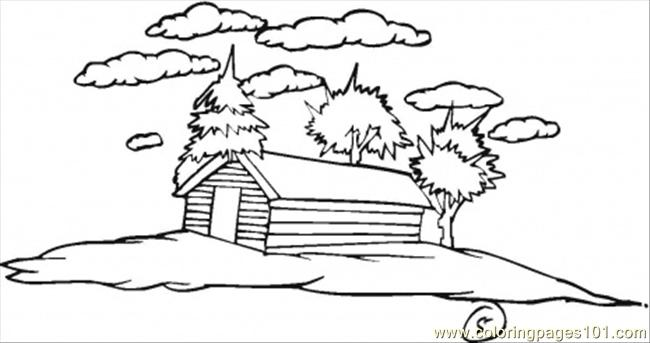 Village In February Coloring Page