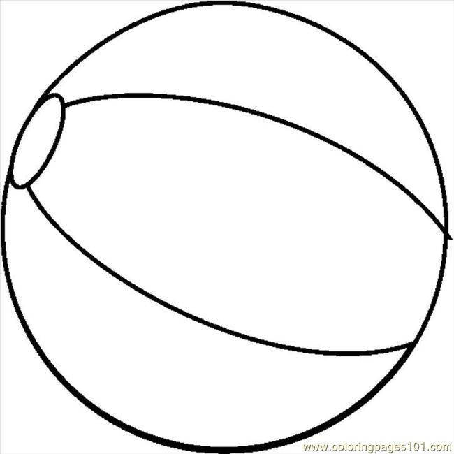 Beachball1bw Coloring Page