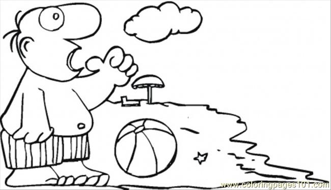 Playing Ball On The Beach Coloring Page