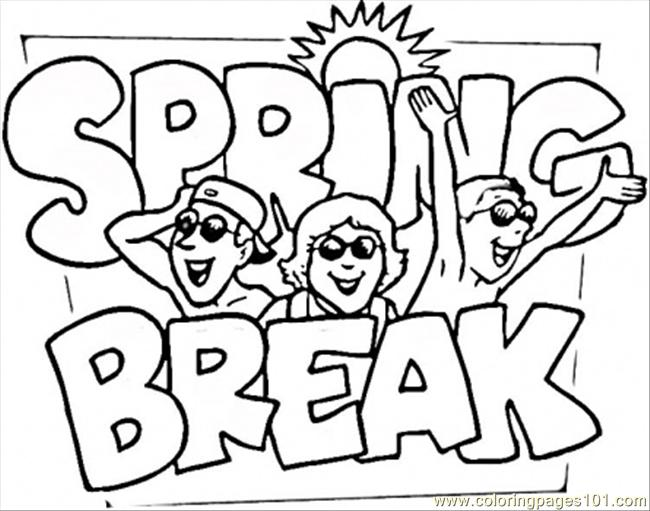 Spring Break Coloring Page - Free Seasons Coloring Pages ...