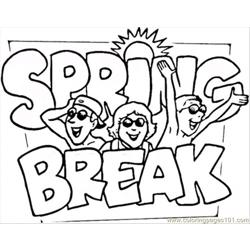 Spring Break Free Coloring Page for Kids