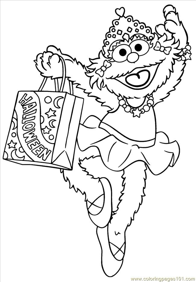 Street Zoe Halloween Coloring Page - Free Sesame Street Coloring ...