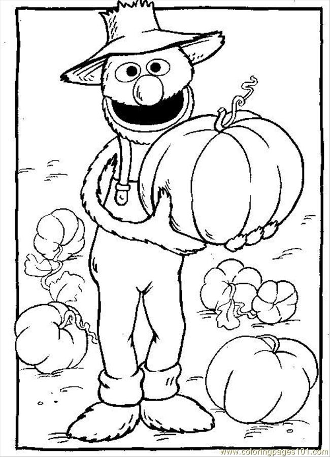 grover pumpkin coloring page