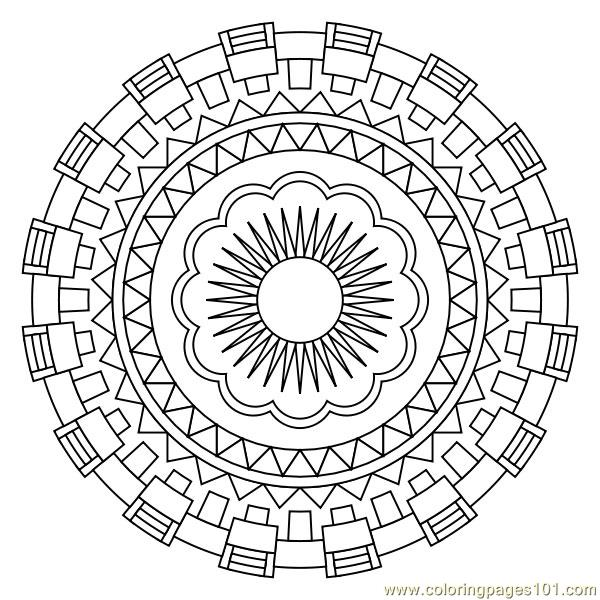 Aztec Coloring Pages Pdf : Geometric circle coloring page free shapes