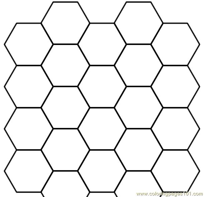 Hexagon group shape Coloring Page