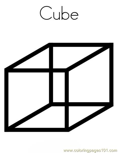 Cube Shape Coloring Page