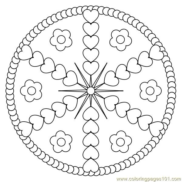 Heart design circle Coloring Page