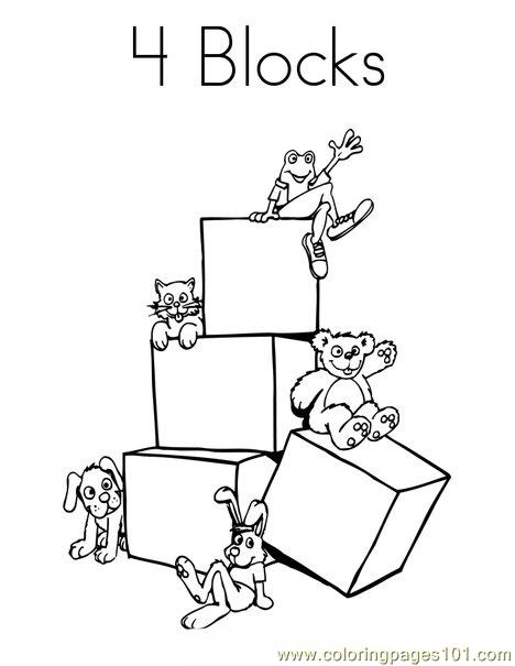 4 blocks Coloring Page
