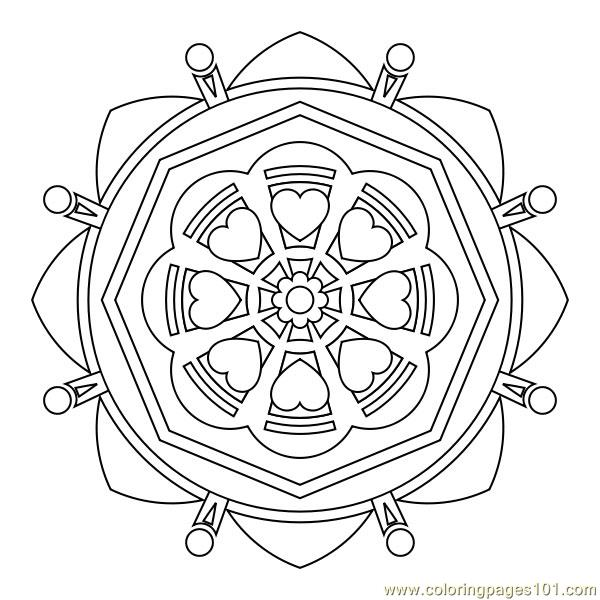 Flowers heart Coloring Page